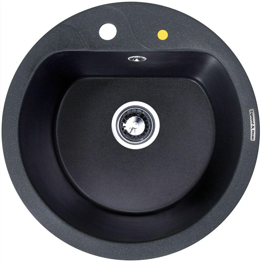 Мойка кухонная Zigmund & Shtain Kreis 505 F, врезная, 1 чаша, цвет: темная скала20021Zigmund & Shtain KREIS 505 F,кухонная мойка, иск.гранит, 1чаша, форма круглая, глубина -21 см, ЦВЕТ темная скала