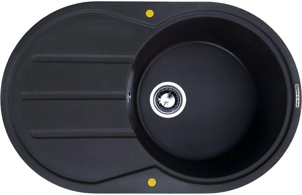 Мойка кухонная Zigmund & Shtain Kreis Ov 770 B, врезная, 1 чаша, крыло, цвет: черный базальт13296Zigmund & Shtain KREIS OV 770 B,кухонная мойка, иск.гранит, 1чаша-крыло, форма овал, глубина-21, Цвет черный базальт