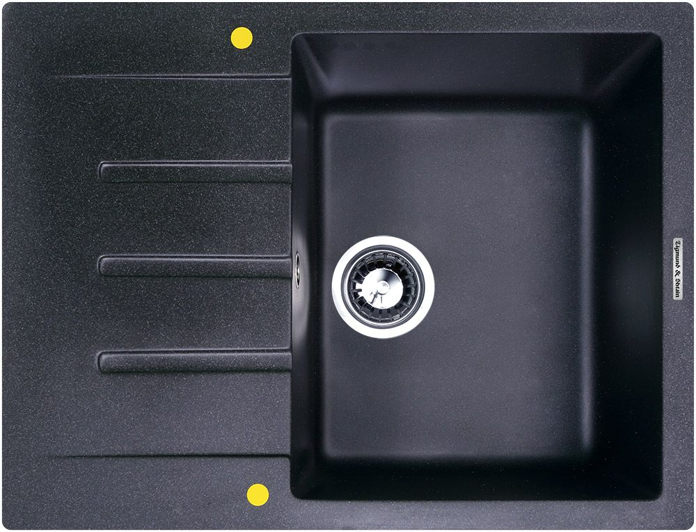 Мойка кухонная Zigmund & Shtain Rechteck 645, врезная, 1 чаша, крыло, цвет: темная скала13296Zigmund & Shtain RECHTECK 645, кухонная мойка, иск.гранит, 1чаша-крыло, форма прямоугольная, глубина-21, Цвет темная скала