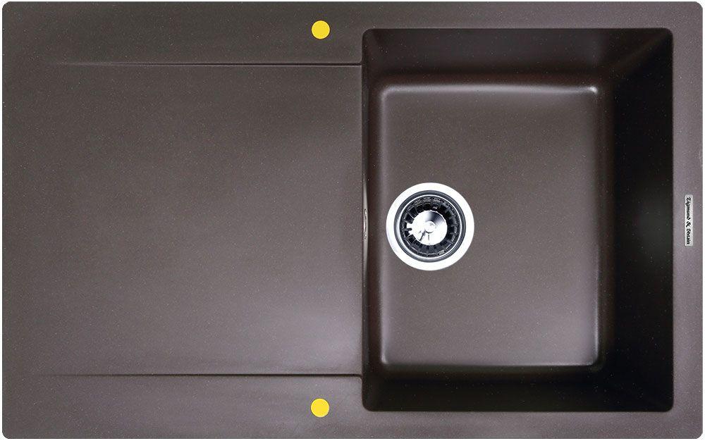 Мойка кухонная Zigmund & Shtain Rechteck 775, врезная, 1 чаша, крыло, цвет: швейцарский шоколадBL505Zigmund & Shtain RECHTECK 775, кухонная мойка, иск.гранит, 1чаша-крыло, форма прямоугольная, глубина-21, Цвет швейцарский шоколад
