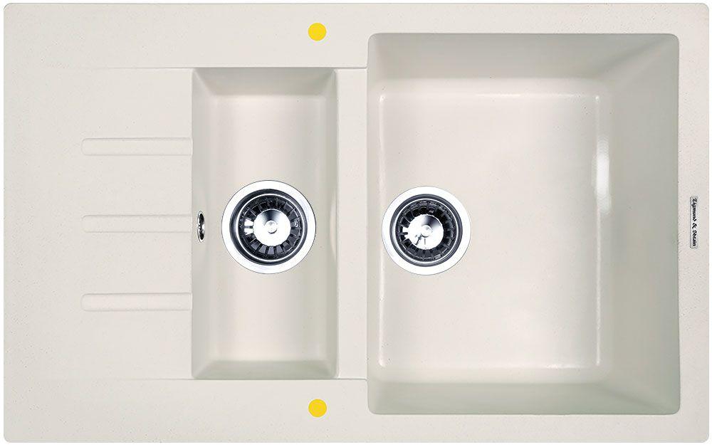 Мойка кухонная Zigmund & Shtain Rechteck 775.2, врезная, 2 чаши, крыло, цвет: индийская ванильBL505Zigmund & Shtain RECHTECK 775.2, кухонная мойка, иск.гранит, 2чаши-крыло, форма прямоугольная, глубина-21, Цвет индийская ваниль