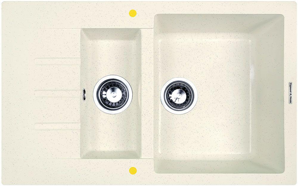 Мойка кухонная Zigmund & Shtain Rechteck 775.2, врезная, 2 чаши, крыло, цвет: каменная сольBL505Zigmund & Shtain RECHTECK 775.2, , кухонная мойка, иск.гранит, 2чаши-крыло, форма прямоугольная, глубина-21, Цвет каменная соль