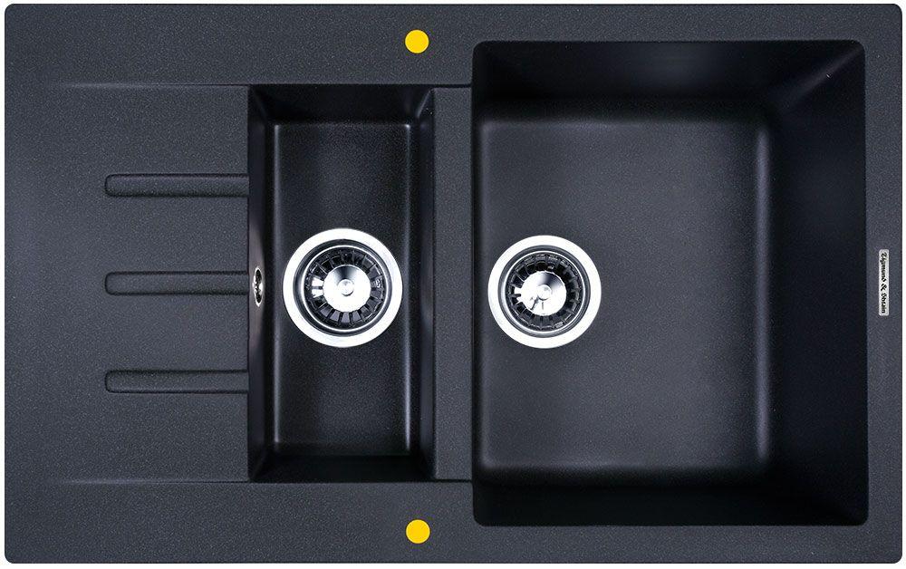 Мойка кухонная Zigmund & Shtain Rechteck 775.2, врезная, 2 чаши, крыло, цвет: темная скалаkreisov770dZigmund & Shtain RECHTECK 775.2, , кухонная мойка, иск.гранит, 2чаши-крыло, форма прямоугольная, глубина-21, Цвет темная скала