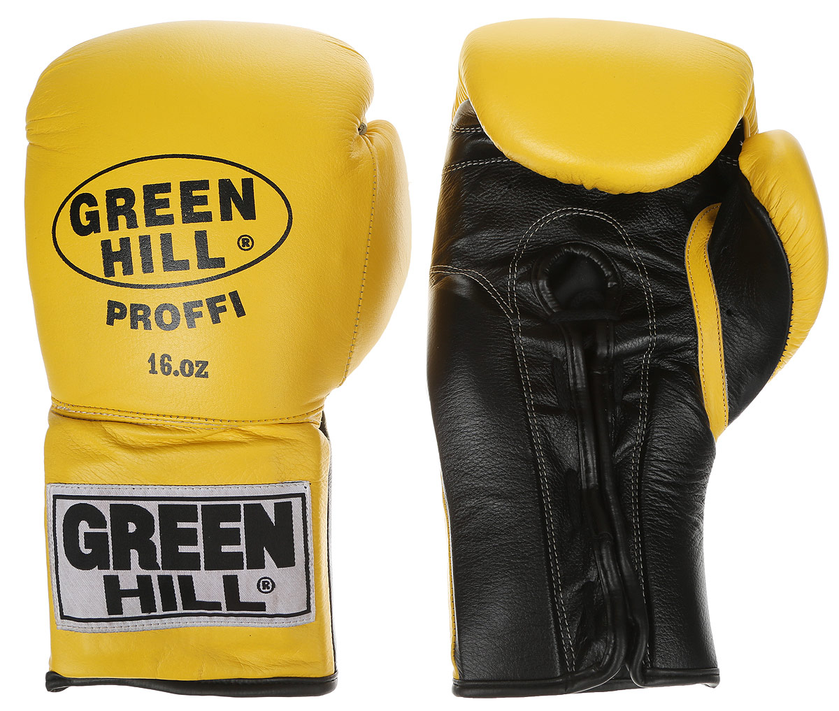 Перчатки боксерские Green Hill Proffi, цвет: желтый, черный. Вес 16 унций. BGP-2014AIRWHEEL M3-162.8Боксерские перчатки Green Hill Proffi предназначены для использования профессионалами. Верх выполнен из натуральной кожи, наполнитель - из вспененного полимера. Отверстие в области ладони позволяет создать максимально комфортный терморежим во время занятий. Манжет на шнуровке способствует быстрому и удобному надеванию перчаток, плотно фиксирует перчатки на руке.