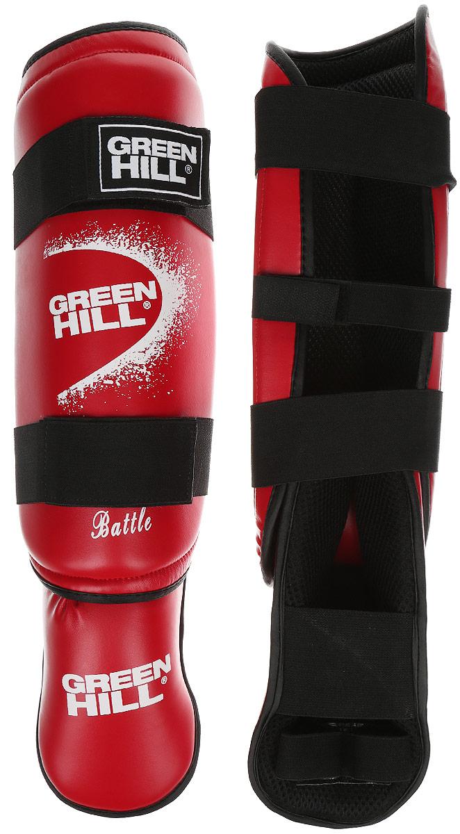 Защита голени и стопы Green Hill Battle, цвет: красный, белый. Размер M. SIB-0014AIRWHEEL M3-162.8Защита голени и стопы Green Hill Battle с наполнителем, выполненным из вспененного полимера, необходима при занятиях спортом для защиты пальцев и суставов от вывихов, ушибов и прочих повреждений. Накладки выполнены из высококачественной искусственной кожи. Подкладка изготовлена из хлопка, внутренняя сторона выполнена в виде сетки. Они надежно фиксируются за счет ленты и липучек.При желании защиту голени можно отцепить от защиты стопы.Длина голени: 36 см.Ширина голени: 12,5 см.Длина стопы: 24 см.Ширина стопы: 10 см.