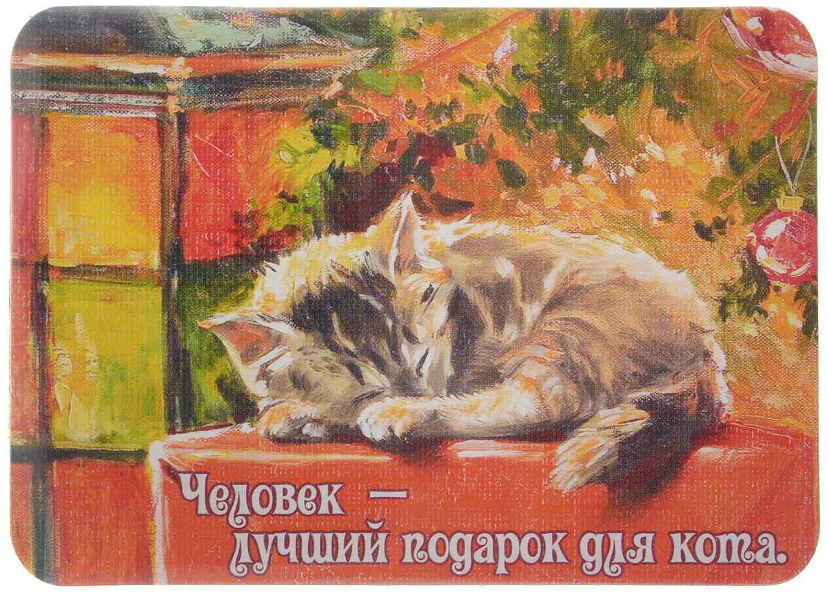 Магнит Человек - лучший подарок для кота, 6,8 х 9,4 смБрелок для ключейМагнит Человек - лучший подарок для кота прекрасно подойдет в качестве сувенира. Изделие оформлено красочным рисунком и дополнено надписью Человек - лучший подарок для кота.Магнит можно прикрепить на любую металлическую поверхность. С помощью магнитов вы можете создать собственную мини-галерею, а также сделать оригинальный подарок вашим близким!Художник: Мария Павлова.Размер магнита: 6,8 х 9,4 см.