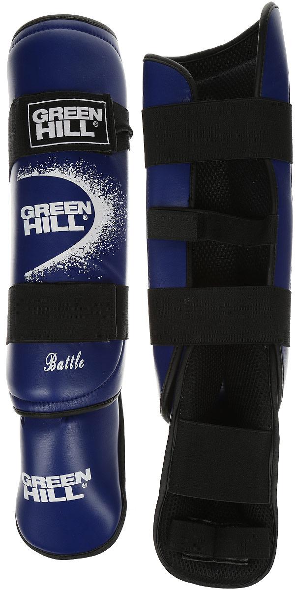 Защита голени и стопы Green Hill Battle, цвет: синий, черный. Размер S. SIB-0014