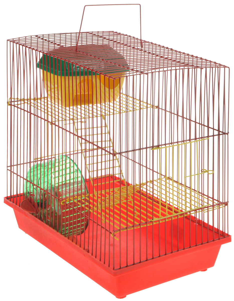Клетка для грызунов  ЗооМарк , 3-этажная, цвет: красный поддон, красная решетка, желтые этажи, 36 х 23 х 34,5 см. 135ж