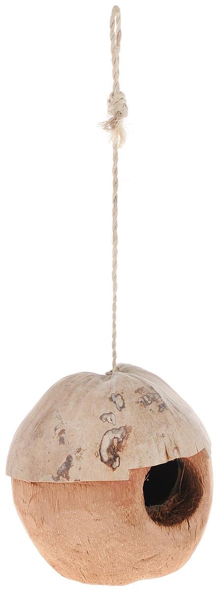 Домик для птиц Triol, диаметр 14 см0120710Домик Triol выполнен из натурального кокосового волокна и оснащен петелькой из джута. Изделие предназначено для укрытия или послужит кормушкой для птиц. Петелька позволит повесить его в любое удобное вам место. Такой домик украсит ландшафт вашего приусадебного участка, придаст ему оригинальность и самобытность или станет отличным дополнением к клетке. Диаметр домика: 10,5 см. Диаметр отверстия домика: 4,5 см. Длина петельки: 24 см.