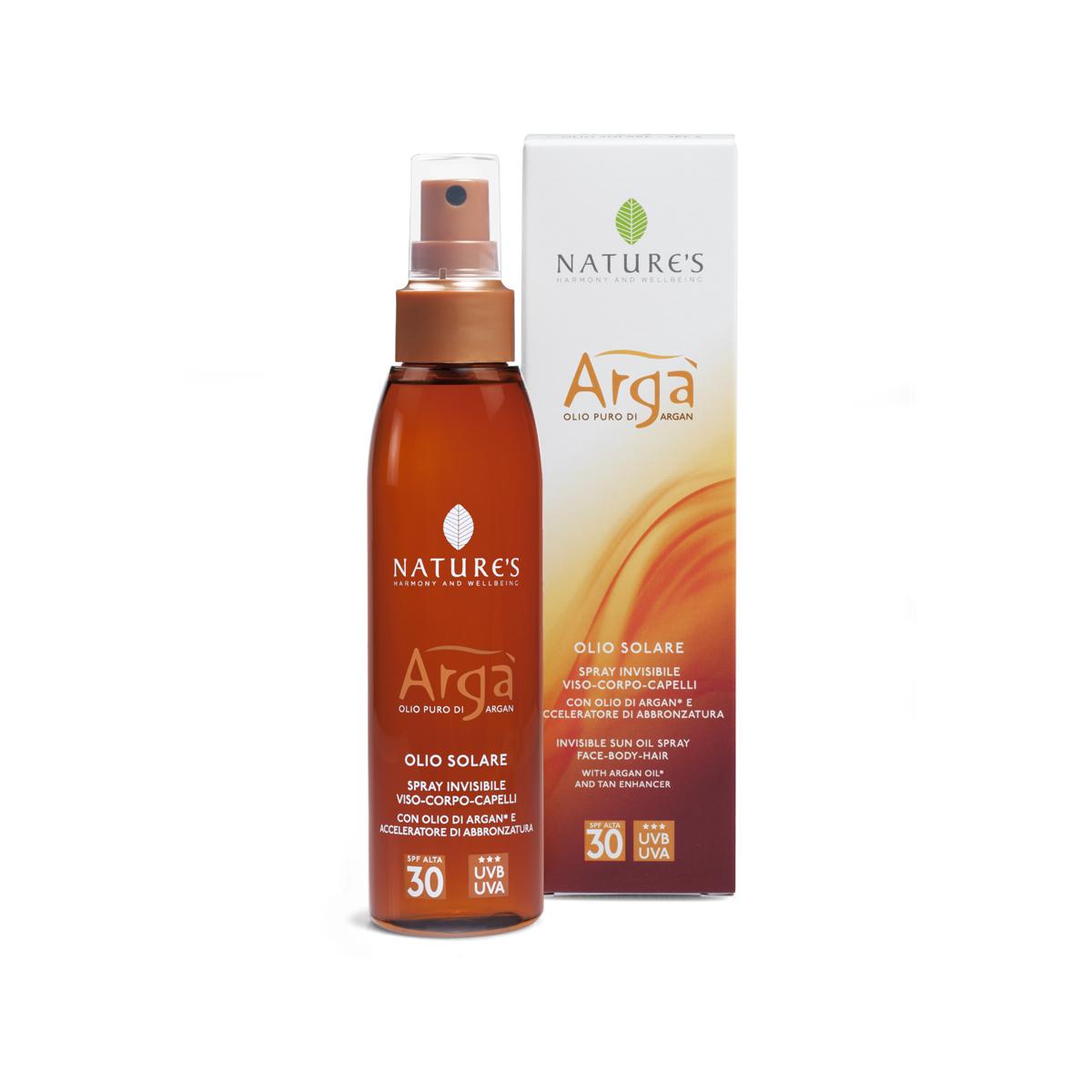 Natures Arga Масло для лица и тела SPF30, 150 млSP0054Инновационное средство с высоким фактором защиты от солнца рекомендуется для светлой (бледной) и нормальной кожи. Свежая, легкая, незаметная текстура на основе масла Арги содержит витамины и антиоксиданты, надежно сохраняет, увлажняет и питает кожу, быстро впитывается, не оставляя жирного блеска. Специальные компоненты – активаторы загара Oleoyl tyrosine (Олеоил Тирозина) и Loofah oil (масло Люфы) способствуют получению красивого бронзового оттенка кожи. Эксперты (BSRS 2008) отмечают хорошую защиту от фотостарения (UVA-лучей) и от повреждения кожных покровов (UVB-лучей). Эсхансеры обеспечивают доставку активных компонентов через эпидермис, не повреждая естественный липидный слой кожи. Средство водостойкое, не содержит парабены. Проведены контрольные дерматологические тесты и тесты на содержание никеля. Гарантии производителя – на упаковке.