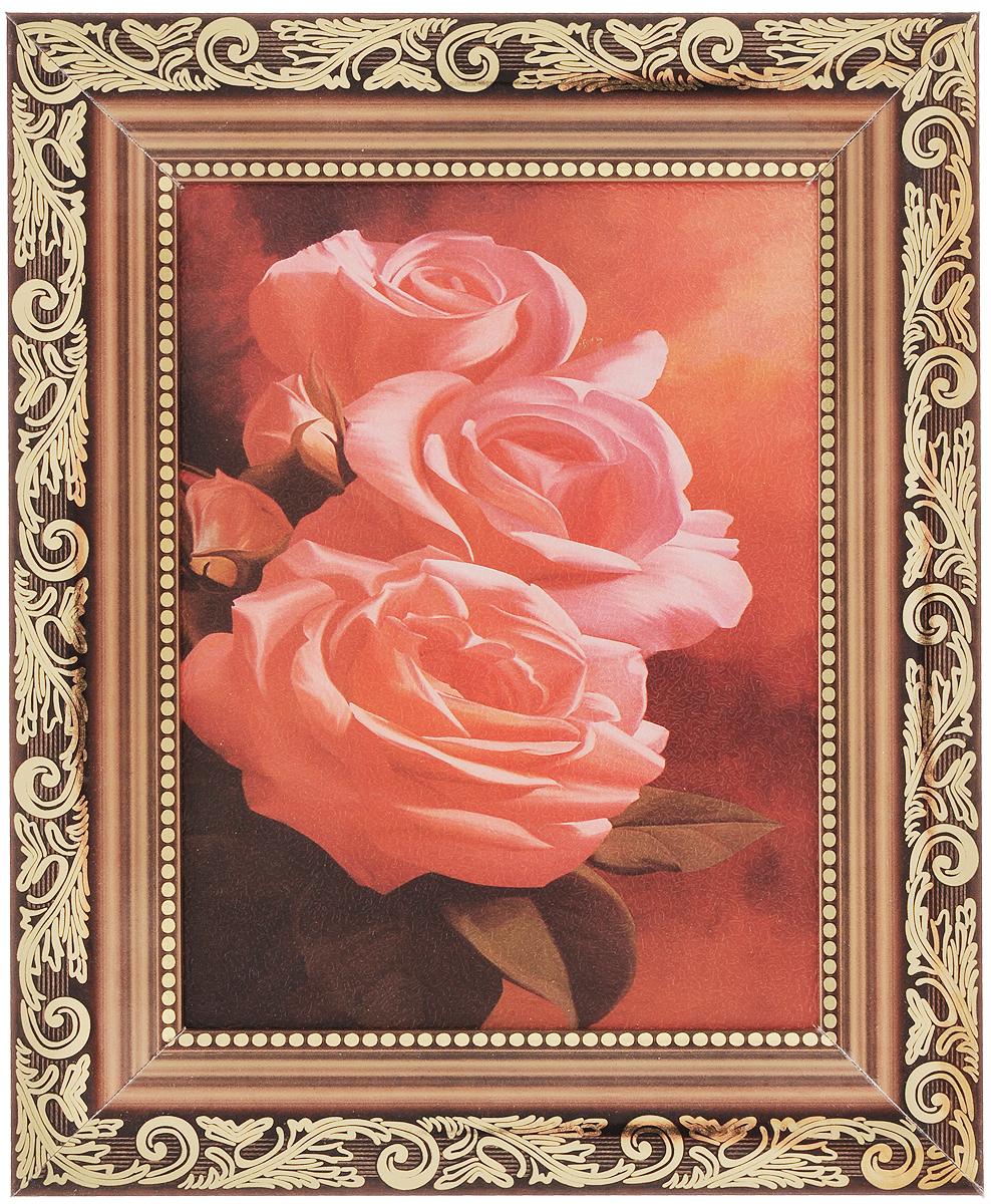 Картина в раме Proffi Home Розовые розы, 15 х 18 смXXL4-008Картина Proffi Home Розовые розы поможет украсить интерьер. Изящные цветы придадут обстановке безмятежность и шик. Картина оформлена в красивую деревянную рамку с золотистым узором. Она будет достойным и не дорогим подарком. Картина идеально подойдет к любому интерьеру и скажет о прекрасном вкусе хозяина или хозяйки дома.В комплект входят крепления. Размер картины (без учета рамки): 15 х 18 см.Размер картины (с учетом рамки): 26,5 х 21,5 см.