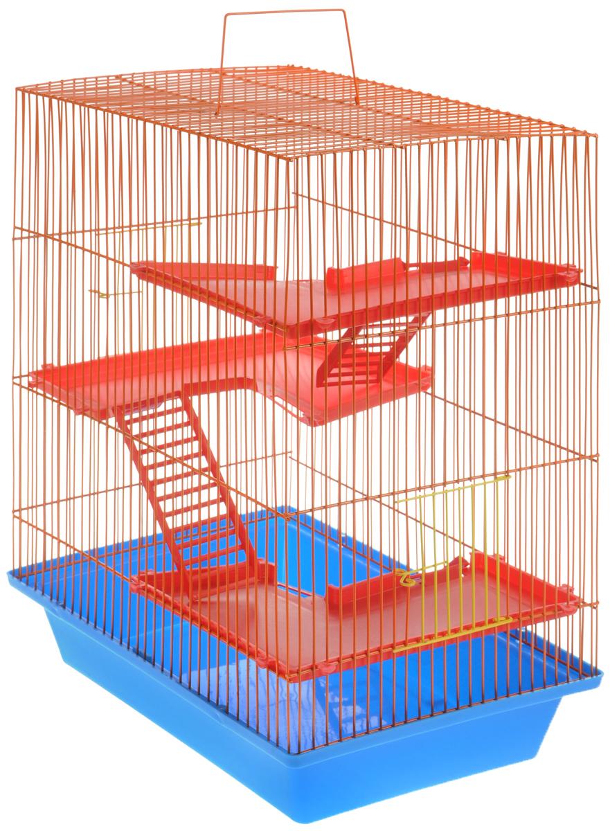 Клетка для грызунов ЗооМарк Гризли, 4-этажная, цвет: голубой поддон, оранжевая решетка, красные этажи, 41 х 30 х 50 см0120710Клетка ЗооМарк Гризли, выполненная из полипропилена и металла, подходит для мелких грызунов. Изделие четырехэтажное. Клетка имеет яркий поддон, удобна в использовании и легко чистится. Сверху имеется ручка для переноски. Такая клетка станет уединенным личным пространством и уютным домиком для маленького грызуна.