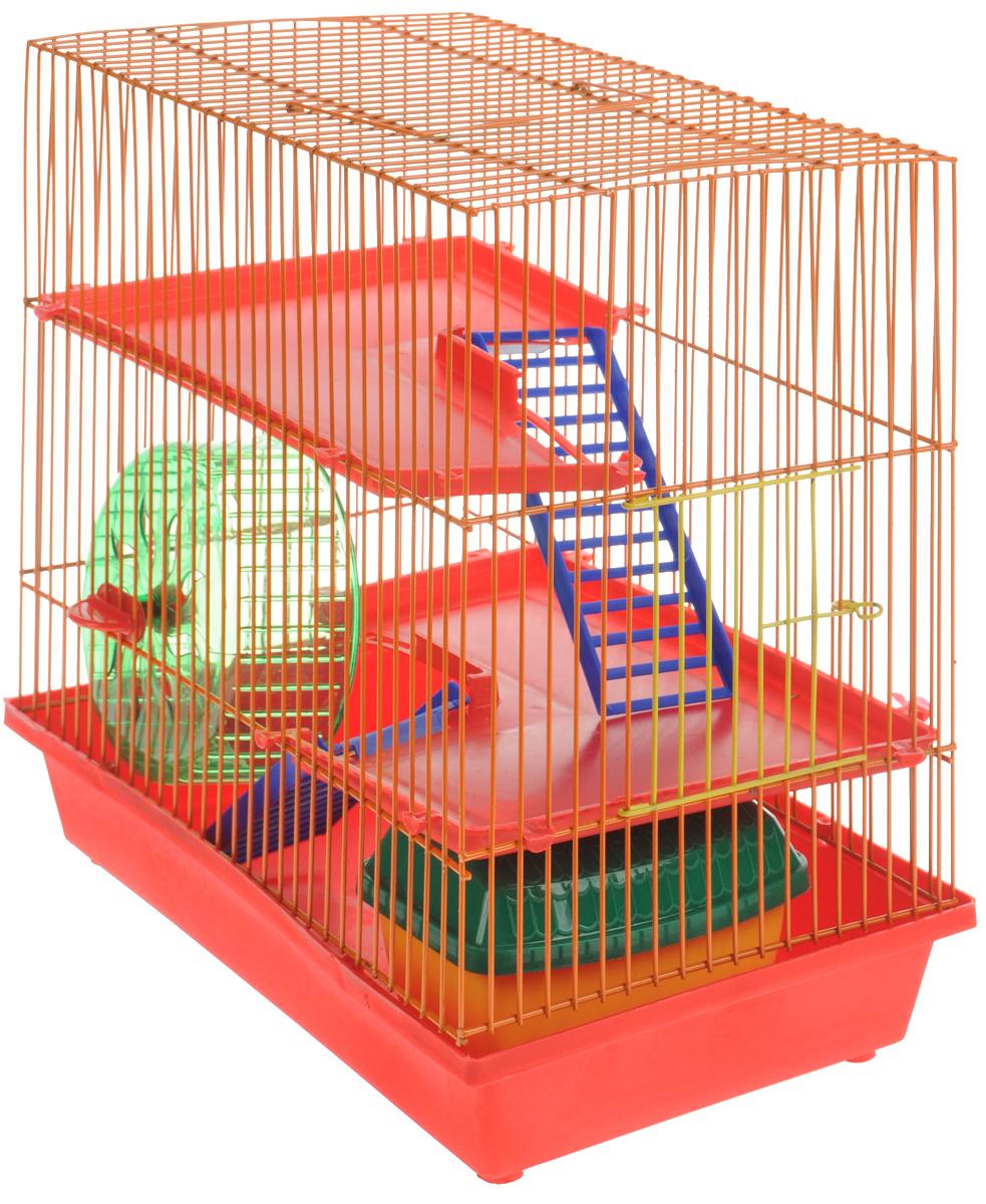 Клетка для грызунов ЗооМарк, 3-этажная, цвет: красный поддон, оранжевая решетка, красные этажи, 36 х 22,5 х 34 см. 1350120710Клетка ЗооМарк, выполненная из полипропилена и металла, подходит для мелких грызунов. Изделие трехэтажное, оборудовано колесом для подвижных игр и пластиковым домиком. Клетка имеет яркий поддон, удобна в использовании и легко чистится. Сверху имеется ручка для переноски. Такая клетка станет уединенным личным пространством и уютным домиком для маленького грызуна.