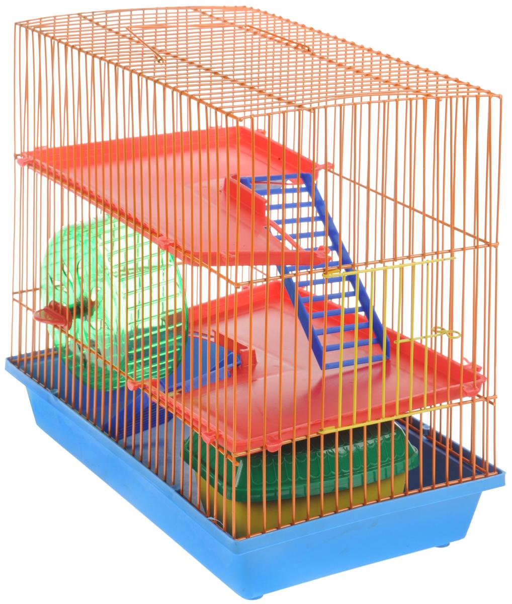 Клетка для грызунов ЗооМарк, 3-этажная, цвет: голубой поддон, оранжевая решетка, красные этажи, 36 х 22,5 х 34 см. 1350120710Клетка ЗооМарк, выполненная из полипропилена и металла, подходит для мелких грызунов. Изделие трехэтажное, оборудовано колесом для подвижных игр и пластиковым домиком. Клетка имеет яркий поддон, удобна в использовании и легко чистится. Сверху имеется ручка для переноски. Такая клетка станет уединенным личным пространством и уютным домиком для маленького грызуна.