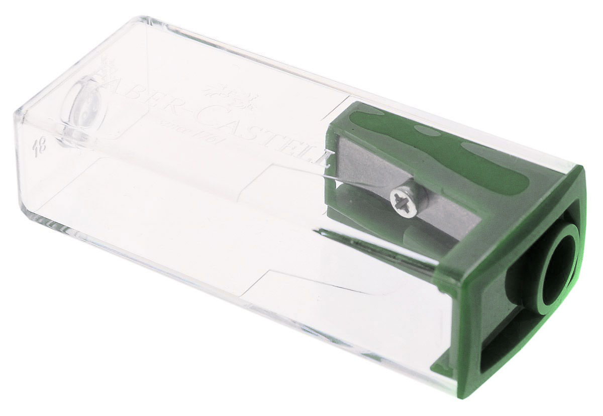 Faber- Castell Точилка с контейнером цвет темно-зеленыйFS-36052Точилка Faber-Castell предназначена для затачивания карандашей диаметром 8 мм.Прозрачный контейнер позволяет визуально определить уровень заполнения и вовремя произвести очистку. Острое лезвие обеспечивает высококачественную и точную заточку деревянных карандашей.