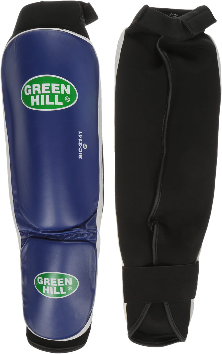 Защита голени и стопы Green Hill Cover, цвет: синий, черный. Размер M. SIС-2141AIRWHEEL Q3-340WH-BLACKЗащита голени и стопы Green Hill Cover с наполнителем, выполненным из полипропилена, необходима при занятиях спортом для защиты пальцев и суставов от вывихов, ушибов и прочих повреждений. Накладки выполнены из высококачественной искусственной кожи. Они прочно фиксируются за счет эластичной ленты и липучек.Длина голени: 29 см.Ширина голени: 15,5 см.Длина стопы: 15 см.Ширина стопы: 11,5 см.