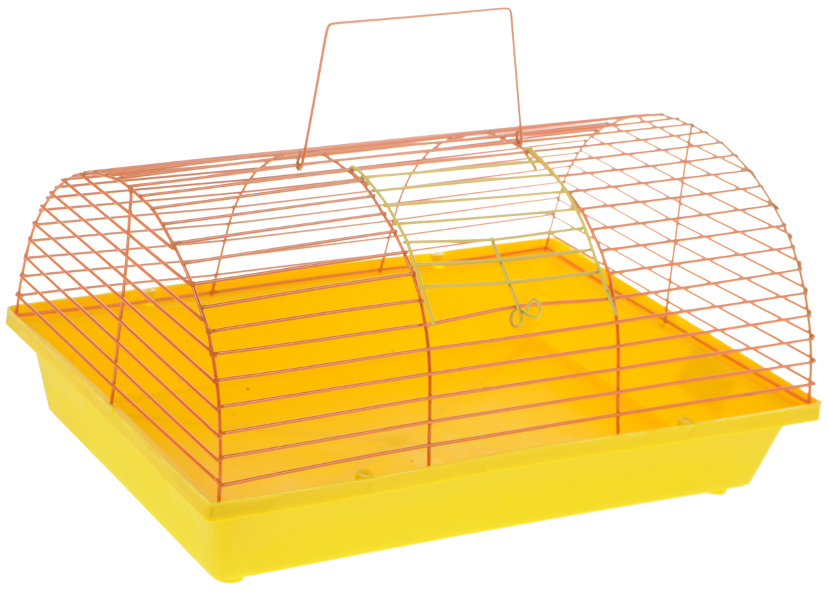 Клетка для грызунов ЗооМарк, цвет: желтый поддон, оранжевая решетка, 36 х 23 х 17,5 см135жЖККлетка ЗооМарк, выполненная из полипропилена иметалла, подходит для мелких грызунов. Она имеетяркий поддон, удобна в использовании и легко чистится.Сверху имеется ручка для переноски.Такая клетка станет уединенным личным пространствоми уютным домиком для маленького грызуна.