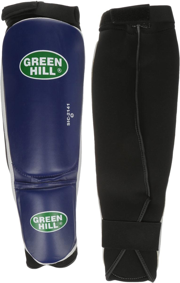 Защита голени и стопы Green Hill Cover, цвет: синий, черный. Размер S. SIС-2141SIB-0014Защита голени и стопы Green Hill Cover с наполнителем, выполненным из полипропилена, необходима при занятиях спортом для защиты пальцев и суставов от вывихов, ушибов и прочих повреждений. Накладки выполнены из высококачественной искусственной кожи. Они прочно фиксируются за счет эластичной ленты и липучек.Длина голени: 27 см.Ширина голени: 15 см.Длина стопы: 14 см.Ширина стопы: 11,5 см.