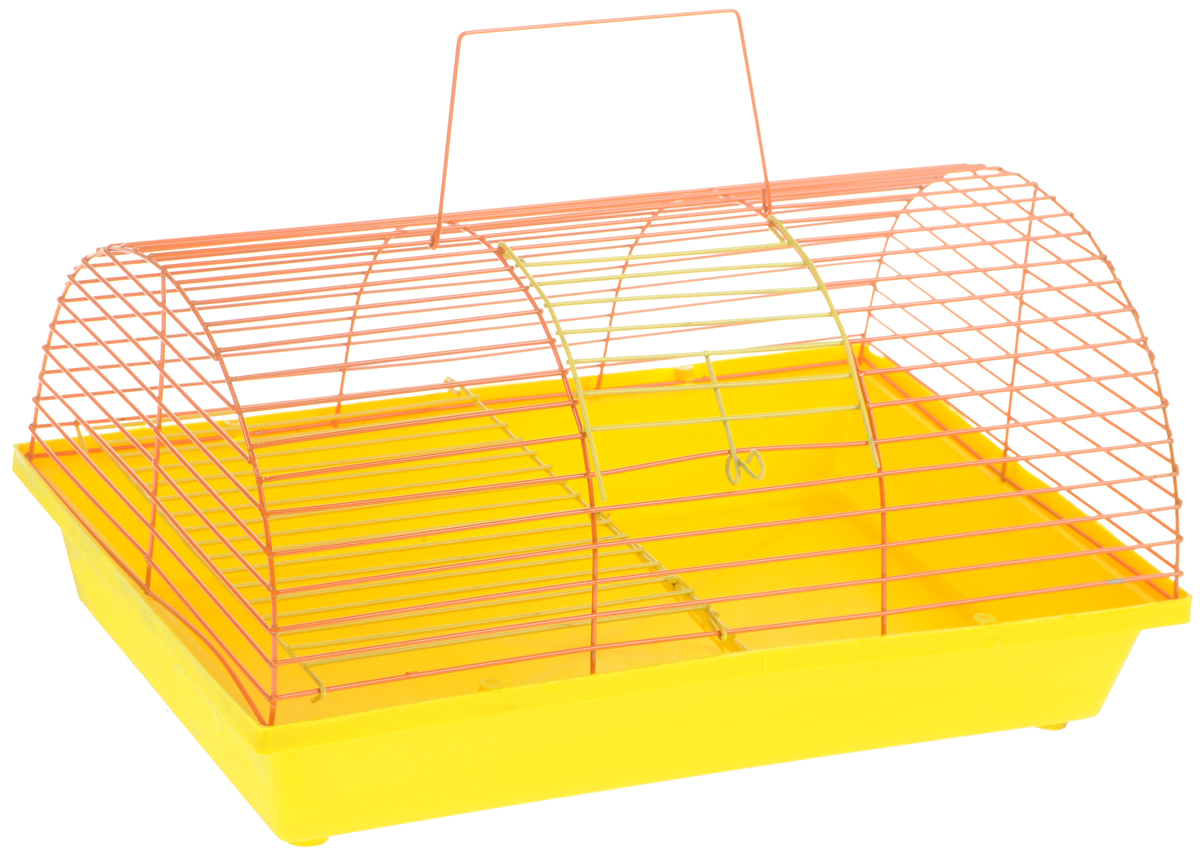 Клетка для грызунов ЗооМарк, цвет: желтый поддон, оранжевая решетка, 36 х 23 х 17,5 см. 110ж125_красный, сиреневыйКлетка ЗооМарк, выполненная из полипропилена и металла, подходит для грызунов. Она имеет яркий поддон, удобна в использовании и легко чистится. Клетка оснащена вторым ярусом с лесенкой, выполненных из металла.Такая клетка станет уединенным пространством и уютным домиком для маленького грызуна.