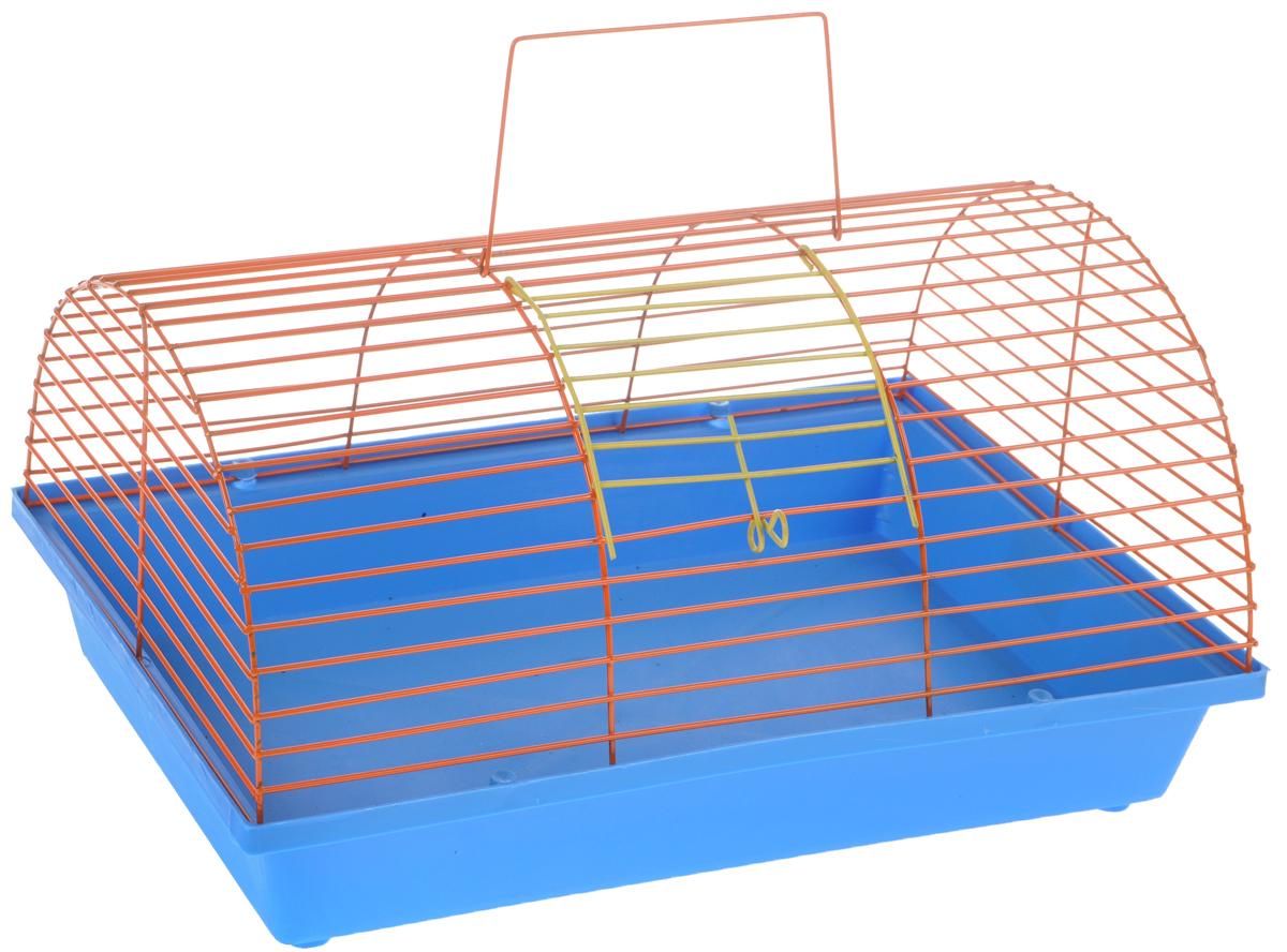 Клетка для грызунов ЗооМарк, цвет: голубой поддон, оранжевая решетка, 36 х 23 х 17,5 см12171996Клетка ЗооМарк, выполненная из полипропилена иметалла, подходит для мелких грызунов. Она имеетяркий поддон, удобна в использовании и легко чистится.Сверху имеется ручка для переноски.Такая клетка станет уединенным личным пространствоми уютным домиком для маленького грызуна.