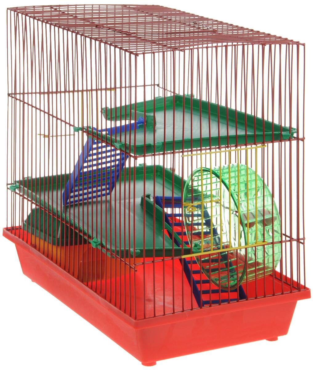 Клетка для грызунов ЗооМарк, 3-этажная, цвет: красный поддон, красная решетка, зеленые этажи, 36 х 22,5 х 34 см. 135КВР1цбКлетка ЗооМарк, выполненная из полипропилена и металла, подходит для мелких грызунов. Изделие трехэтажное, оборудовано колесом для подвижных игр и пластиковым домиком. Клетка имеет яркий поддон, удобна в использовании и легко чистится. Сверху имеется ручка для переноски, а сбоку удобная дверца. Такая клетка станет уединенным личным пространством и уютным домиком для маленького грызуна.