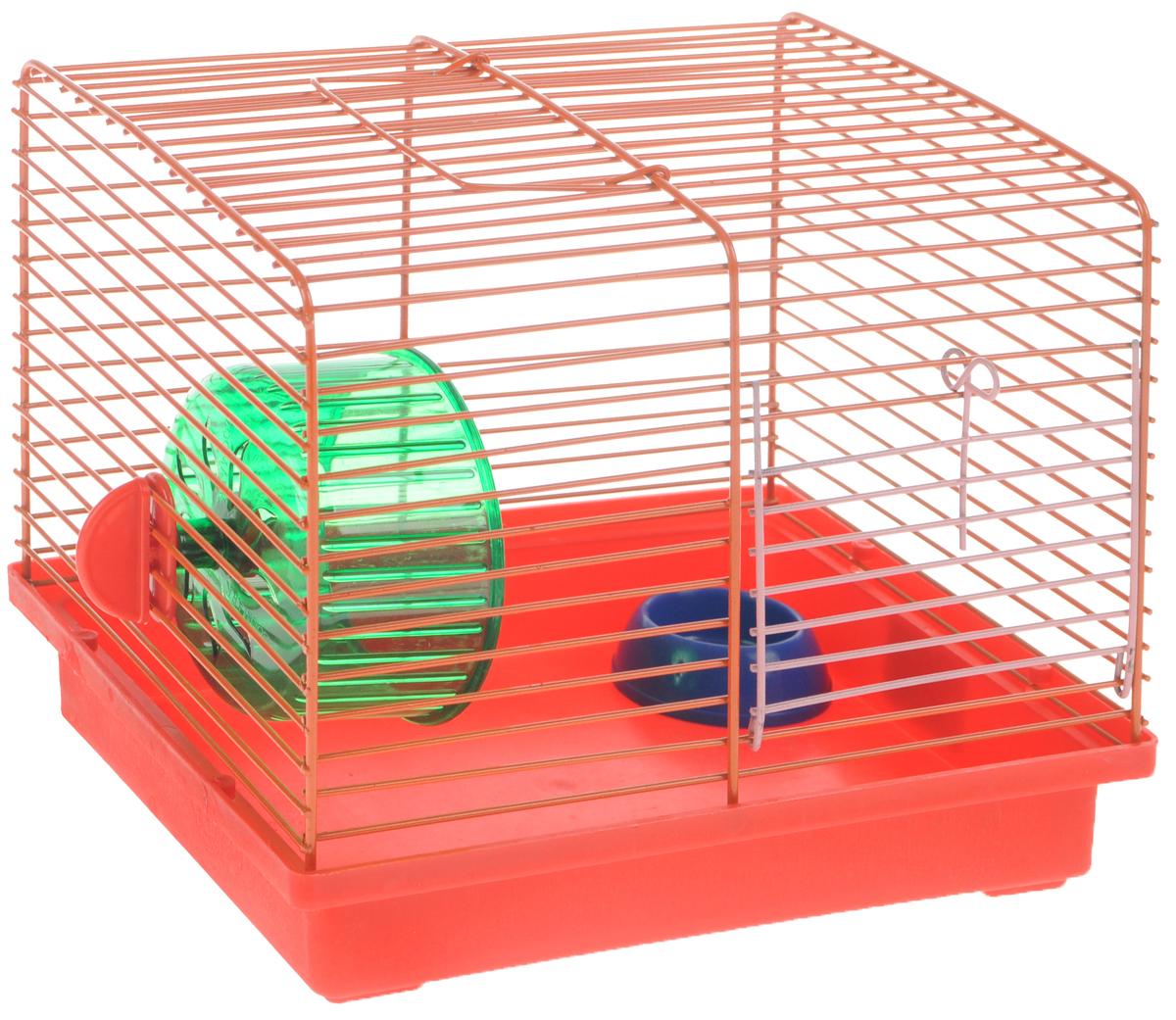 Клетка для джунгариков ЗооМарк, с колесом и миской, цвет: красный поддон, оранжевая решетка, 23 х 18 х 19 см0120710Клетка ЗооМарк, выполненная из пластика и металла, подходит для мелких грызунов. Изделие оборудовано колесом для подвижных игр и пластиковой миской. Клетка имеет яркий поддон, удобна в использовании и легко чистится. Сверху имеется ручка для переноски. Такая клетка станет личным пространством и уютным домиком для маленького грызуна.Комплектация: - клетка с поддоном;- миска;- колесо.