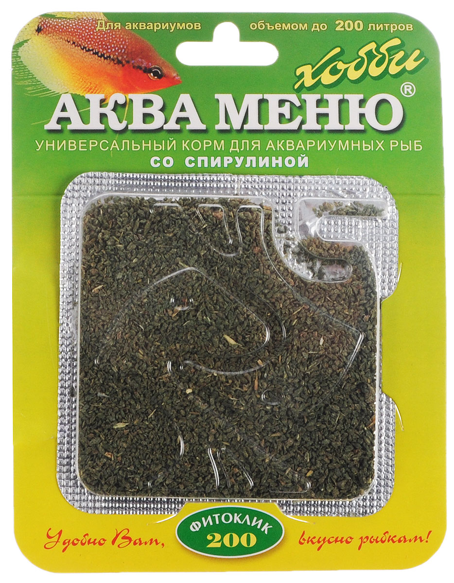 Корм Аква Меню Фитоклик-200 для рыб, со спирулиной, 6,5 г0120710Универсальный ежедневный корм Аква Меню Фитоклик-200 со спирулиной подходит ля большинства видов растительноядных аквариумных рыб: живородящих, карпозубых, карповых, сомов, африканских цихлид и других рыб длиной 4-10 см. Корм полезно 1-2 раза в неделю чередовать с кормом Аква Меню Униклик с артемий. Одна порция 50 мг корма - дневной рацион для взрослых рыб, общей массой 10 г.Рекомендуется для аквариумов объемом до 200 л. Химический состав на кг: белки - 40,8%, жиры - 6,8%, клетчатка - 5,8%, влажность - 10%, Витамин А - 20000 МЕ, Витамин D3 - 2000 МЕ, Витамин Е - 100 мг. Товар сертифицирован.