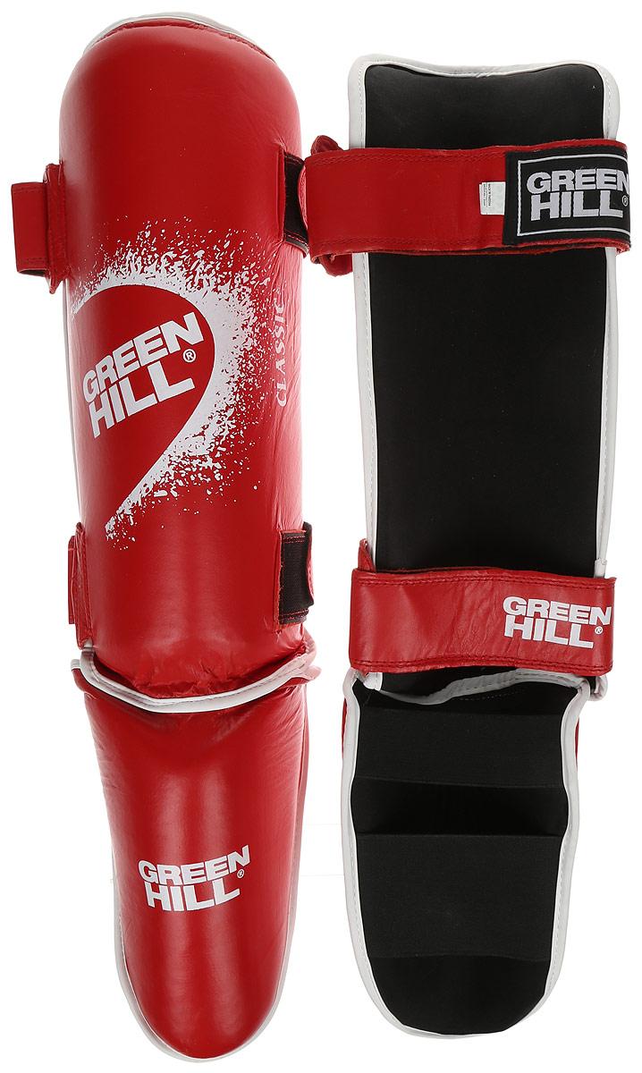 Защита голени и стопы Green Hill Classic, цвет: красный, белый. Размер L. SIC-0019