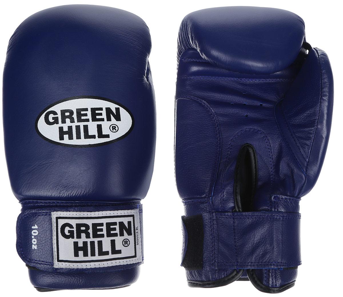Перчатки боксерские Green Hill Super Star, цвет: синий, белый. Вес 10 унций. BGS-1213сAIRWHEEL M3-162.8Боксерские перчатки Green Hill Super Star предназначены для использования профессионалами. Подойдут для спаррингов и соревнований. Верх выполнен из натуральной кожи, наполнитель - из вспененного полимера. Отверстие в области ладони позволяет создать максимально комфортный терморежим во время занятий. Манжет на липучке способствует быстрому и удобному надеванию перчаток, плотно фиксирует перчатки на руке.