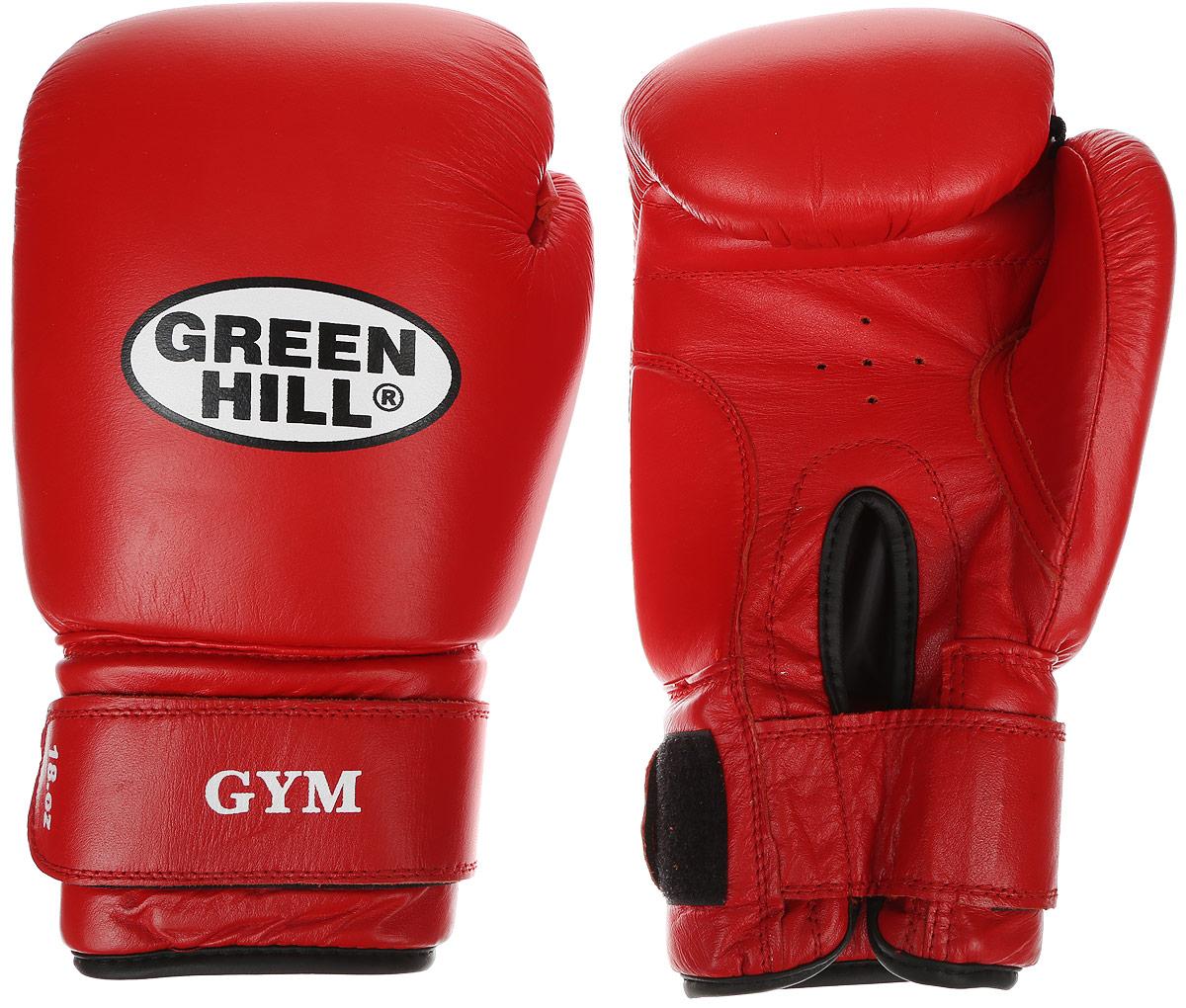 Перчатки боксерские Green Hill Gym, цвет: красный, белый. Вес 18 унцийBB1637Боксерские перчатки Green Hill Gym подходят для всех видов единоборств где применяют перчатки. Подойдет как для бокса, так и для кикбоксинга. Новички и профессионалы высоко ценят эту модель за универсальность. Верхняя часть перчатки выполнена из натуральной кожи, наполнитель - пенополиуретан. Перфорированная поверхность в области ладони позволяет создать максимально комфортный терморежим во время занятий. Закрепляется на руке при помощи липучки.