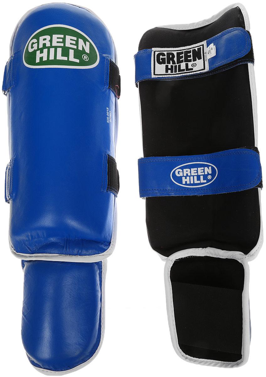 Защита голени и стопы Green Hill Somo, цвет: синий, белый. Размер S. SIS-0018SC-61311SЗащита голени и стопы Green Hill Somo с защитной подушкой, выполненной из полипропилена, необходима при занятиях спортом для защиты пальцев и суставов от вывихов, ушибов и прочих повреждений. Накладки выполнены из высококачественной натуральной кожи. Они прочно фиксируются за счет лент и липучек.Длина голени: 34 см.Ширина голени: 16,5 см.Длина стопы: 12 см.Ширина стопы: 11,5 см.