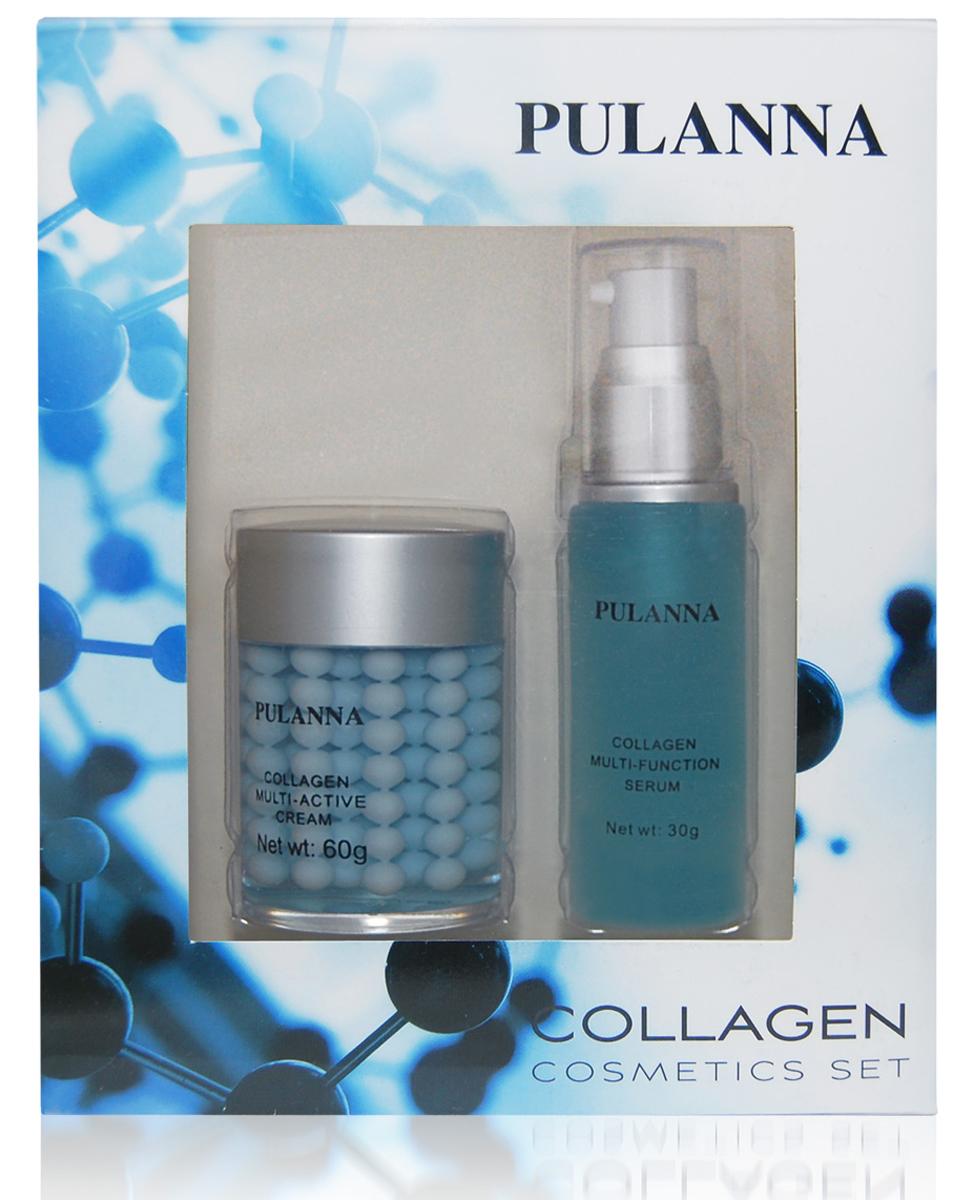 Pulanna Подарочный набор Collagen Cosmetics Set (2 предмета)FS-001031. Крем с коллагеном обеспечивает неинвазивное моделирование контуров лица, оказывает мощное восстанавливающее действие, препятствует преждевременному старению кожи. Благодаря сложному двухфазному составу обеспечивается максимальная эффективность воздействия активных компонентов. Улучшает процесс регенерации в эпидермисе и стабилизирует уровень влажности в клетках кожи. Оживляет и питает её, интенсивно восстанавливает эластичность, сокращая видимость морщин и рельефность кожи, обладает лифтинг-эффектом. Может использоваться утром и вечером. 2. Многофункциональная коллагеновая сыворотка - это уникальная комбинация белков шелка, натурального морского коллагена и эластина, укрепляющая структуру кожи и препятствующая ее возрастному истончению. Сыворотка делает кожу более упругой, наполненной и гладкой. Обеспечивает моделирование контуров лица, одновременно улучшая ее поверхностную структуру. Снимает раздражения, успокаивает кожу, нейтрализует воздействие аллергенов (D-panthenol (Провитамин В5)), удерживает влагу, снижает отечность. Серия является полноценным уходом для зрелой кожи, склонной к потере упругости и эластичности.Для всех типов кожи с 35-40 лет.