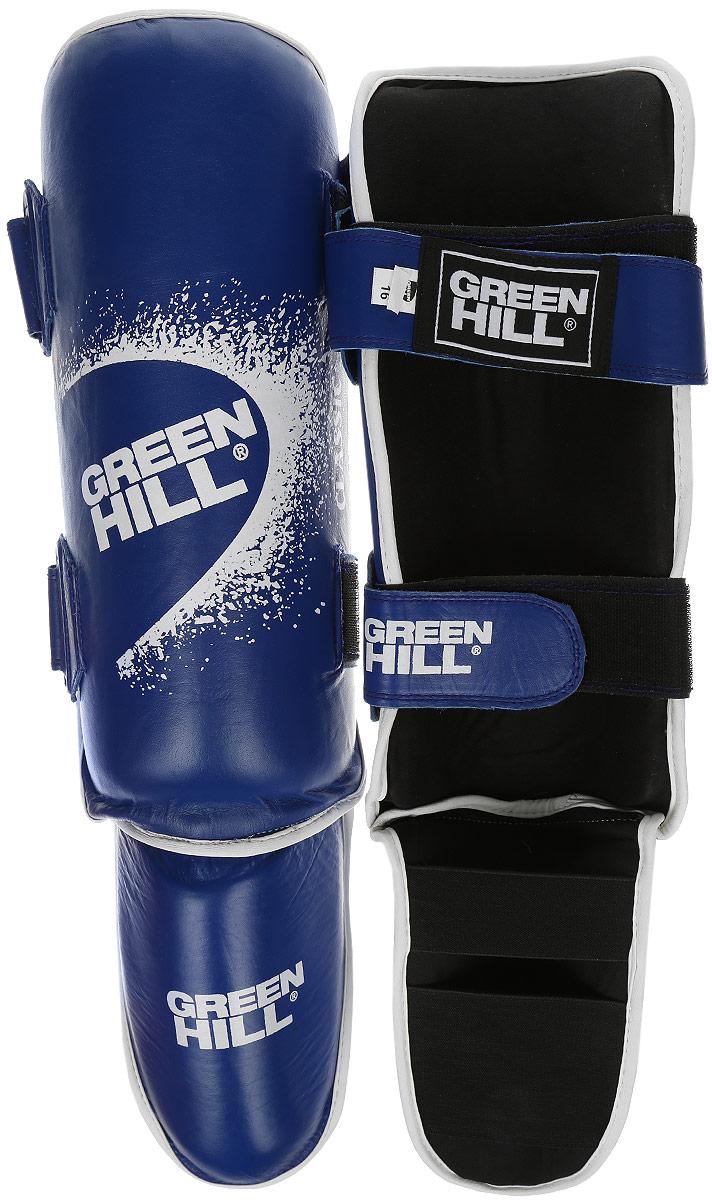 Защита голени и стопы Green Hill Battle, цвет: синий, черный. Размер M. SIB-0014SF 0085Защита голени и стопы Green Hill Battle с наполнителем, выполненным из вспененного полимера, необходима при занятиях спортом для защиты пальцев и суставов от вывихов, ушибов и прочих повреждений. Накладки выполнены из высококачественной искусственной кожи. Подкладка изготовлена из хлопка, внутренняя сторона выполнена в виде сетки. Они надежно фиксируются за счет ленты и липучек.При желании защиту голени можно отцепить от защиты стопы.Длина голени: 36 см.Ширина голени: 12,5 см.Длина стопы: 24 см.Ширина стопы: 10 см.