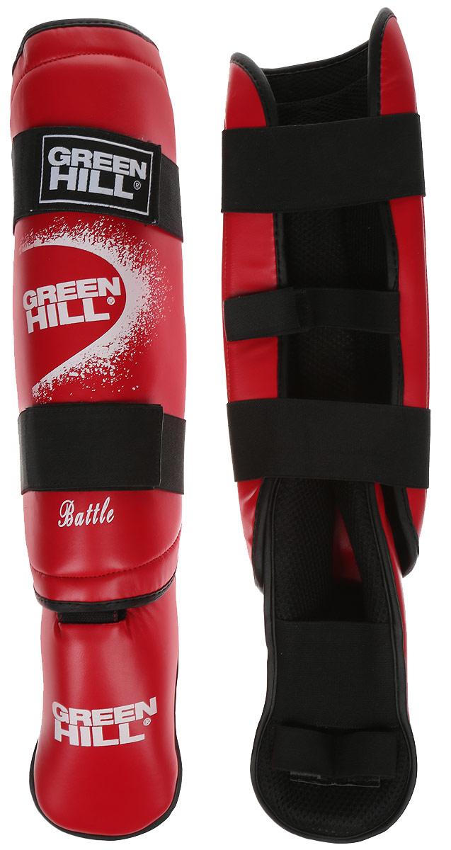 Защита голени и стопы Green Hill Battle, цвет: красный, белый. Размер S. SIB-0014УТ-00007379Защита голени и стопы Green Hill Battle с наполнителем, выполненным из вспененного полимера, необходима при занятиях спортом для защиты пальцев и суставов от вывихов, ушибов и прочих повреждений. Накладки выполнены из высококачественной искусственной кожи. Подкладка изготовлена из хлопка, внутренняя сторона выполнена в виде сетки. Они надежно фиксируются за счет ленты и липучек.При желании защиту голени можно отцепить от защиты стопы.Длина голени: 35 см.Ширина голени: 12 см.Длина стопы: 24 см.Ширина стопы: 9 см.