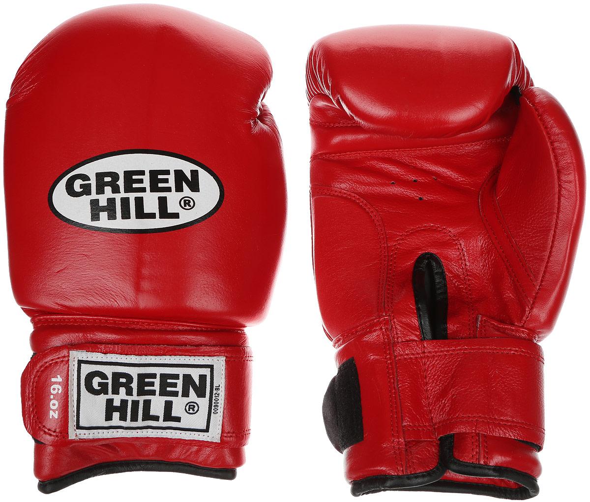 Перчатки боксерские Green Hill Super Star, цвет: красный, белый. Вес 16 унций. BGS-1213сBGA-2024Боксерские перчатки Green Hill Super Star предназначены для использования профессионалами. Подойдут для спаррингов и соревнований. Верх выполнен из натуральной кожи, наполнитель - из вспененного полимера. Отверстие в области ладони позволяет создать максимально комфортный терморежим во время занятий. Манжет на липучке способствует быстрому и удобному надеванию перчаток, плотно фиксирует перчатки на руке.