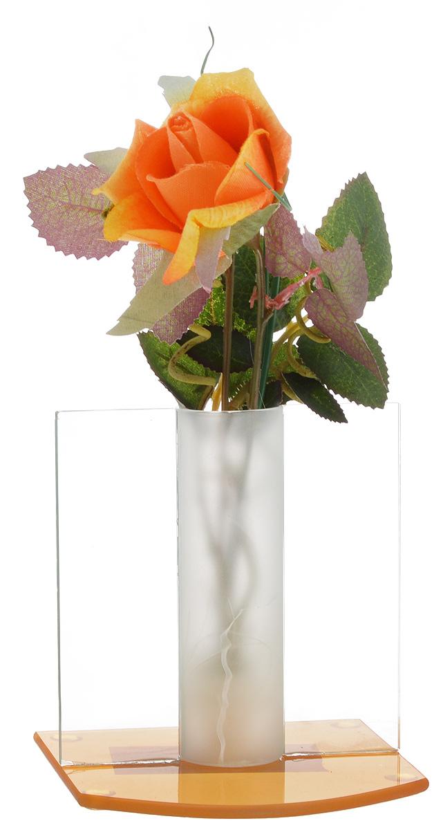 Композиция декоративная House & Holder Роза, цвет: оранжевый, зеленый, высота 21 см531-401Декоративная композиция House & Holder Роза, выполненная из высококачественного стекла, пластика и текстиля, представляет собой белую розу в вазе. Композиция House & Holder Роза- изделие с высокой степенью выразительности и декоративности, включающая в себя элементы, которые усиливают ее эмоционально-чувственное восприятие. От латинского decoro - украшаю. То есть декоративная композиция ставит своей целью украшать предметы, интерьер, элементы одежды и прочее. Также изделие станет отличным подарком.