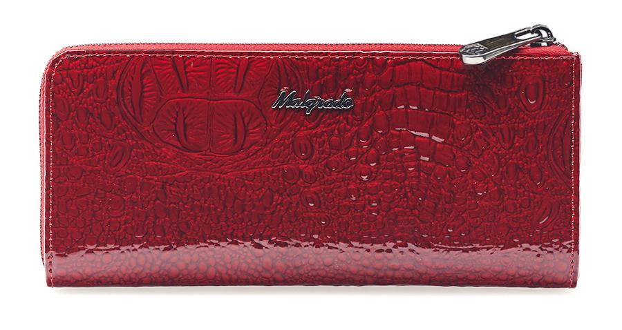 Кошелек женский Malgrado, цвет: красный. 76002-01701INT-06501Кошелек торговой марки Malgrado из натуральной кожи на молнии, высшего качества, в полную длину купюры. Портмоне имеет пять отделений, один из них на молнии. В кошельке так же есть двенадцать отделений для дисконтных карт, визиток и кредиток. Снаружи, на оборотной стороне: карман на молнии.
