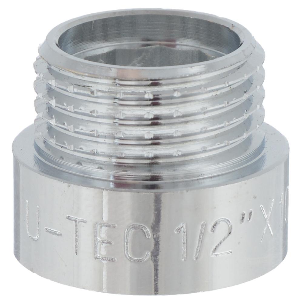 Гайка удлинительная U-tec, хpом, 1/2, 10 ммBL505Удлинительная гайка U-tec с внутренней резьбой 1/2 дюйма и внешней на 10 мм используется в качестве соединительного элемента при состыковке металлических труб с внутренней и внешней резьбой. Изделие предназначено для того, чтобы смонтировать в квартире отопление, системы ГВС и ХВС без применения сварки.