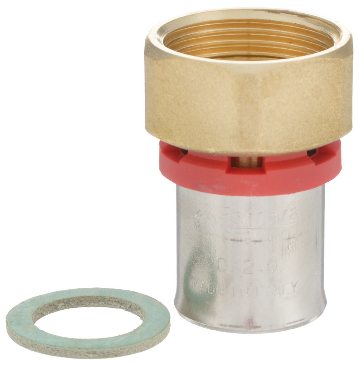 Соединитель Fornara, под пресс, п - нг, 20 x 3/4BL505Соединитель под пресс Fornara представляет собой элемент трубопровода, обеспечивающий соединение труб из разных материалов с компонентами системы. Изделие имеет переход на наружную резьбу, прочный, долговечный корпус из никелированной горячепрессованной латуни. Благодаря специальным насечкам уплотнительный материал соединителя хорошо удерживается при монтаже трубопроводной системы.