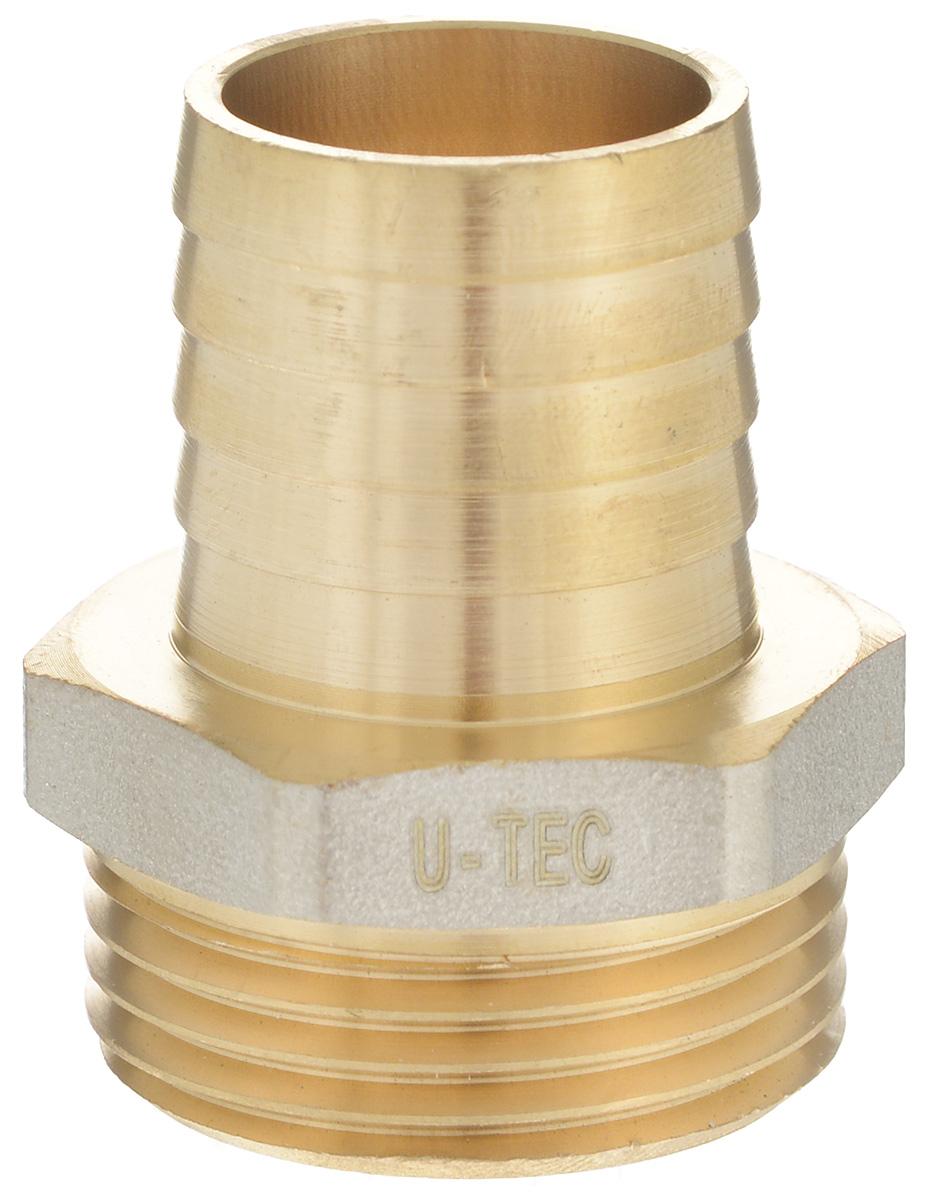 Переходник U-Tec, для резинового шланга, наружная резьба 1 х 25 мм68/5/3Переходник U-Tec предназначен для соединения резьбовых соединений с резиновым шлангом. Изделие изготовлено из прочной и долговечной латуни. Никелированное покрытие на внешнем корпусе защищает изделие от окисления. Продукция под торговой маркой U-Tec прошла все необходимые испытания и по праву может считаться надежной.Размер ключа: 34 мм.
