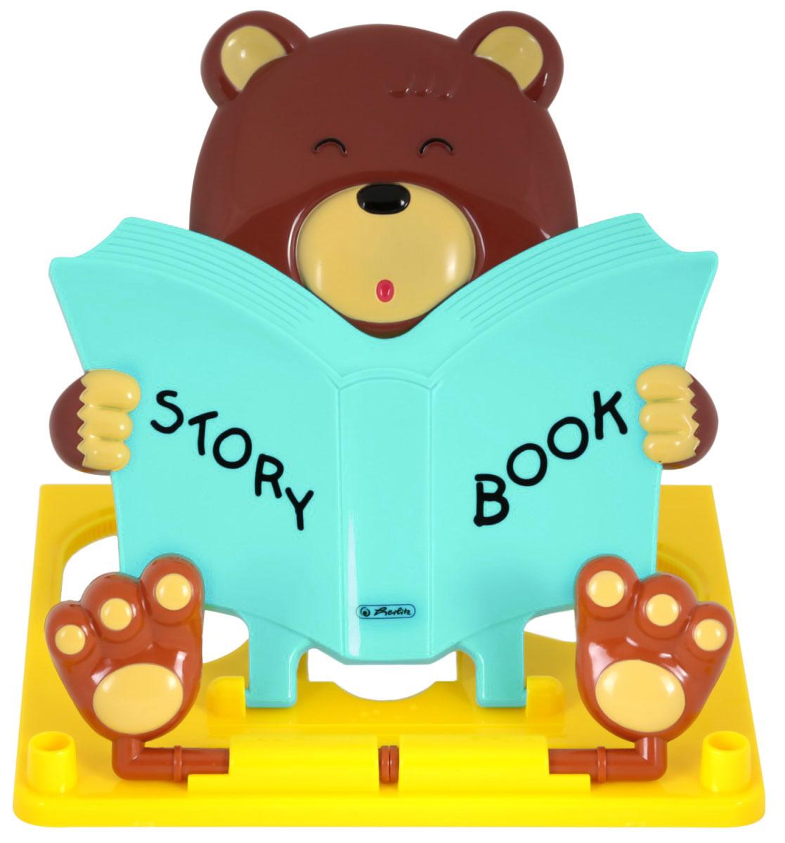 Во время чтения и работы с книгой важно сохранять правильное расстояние от глаз до листа. Иначе это грозит заболеваниями, связанными с нарушениями ритма дыхания и циркуляции крови.Фигурная подставка Herlitz, выполненная в виде читающего медвежонка, поможет вам избежать этих проблем. Специальные регулируемые по ширине вставки-лапки препятствуют скольжению и падению книг и учебников. Подставка выполнена из прочного пластика, а благодаря небольшому размеру, она не займет много места в рюкзаке. На подставке расположена шкала до 16 см.Удобная складывающаяся подставка для книг и учебников удобно зафиксирует книгу на столе и позаботится о зрении ребенка. Подставка станет незаменимым аксессуаром на столе у школьника.
