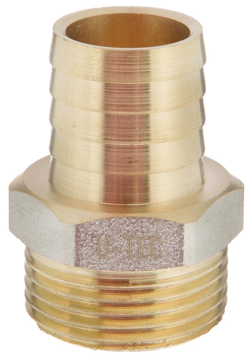 Переходник U-Tec, для резинового шланга, наружная резьба 3/4 х 20 ммИС.080348Переходник U-Tec предназначен для соединения резьбовых соединений с резиновым шлангом. Изделие изготовлено из прочной и долговечной латуни. Никелированное покрытие на внешнем корпусе защищает изделие от окисления. Продукция под торговой маркой U-Tec прошла все необходимые испытания и по праву может считаться надежной.Размер ключа: 27 мм.
