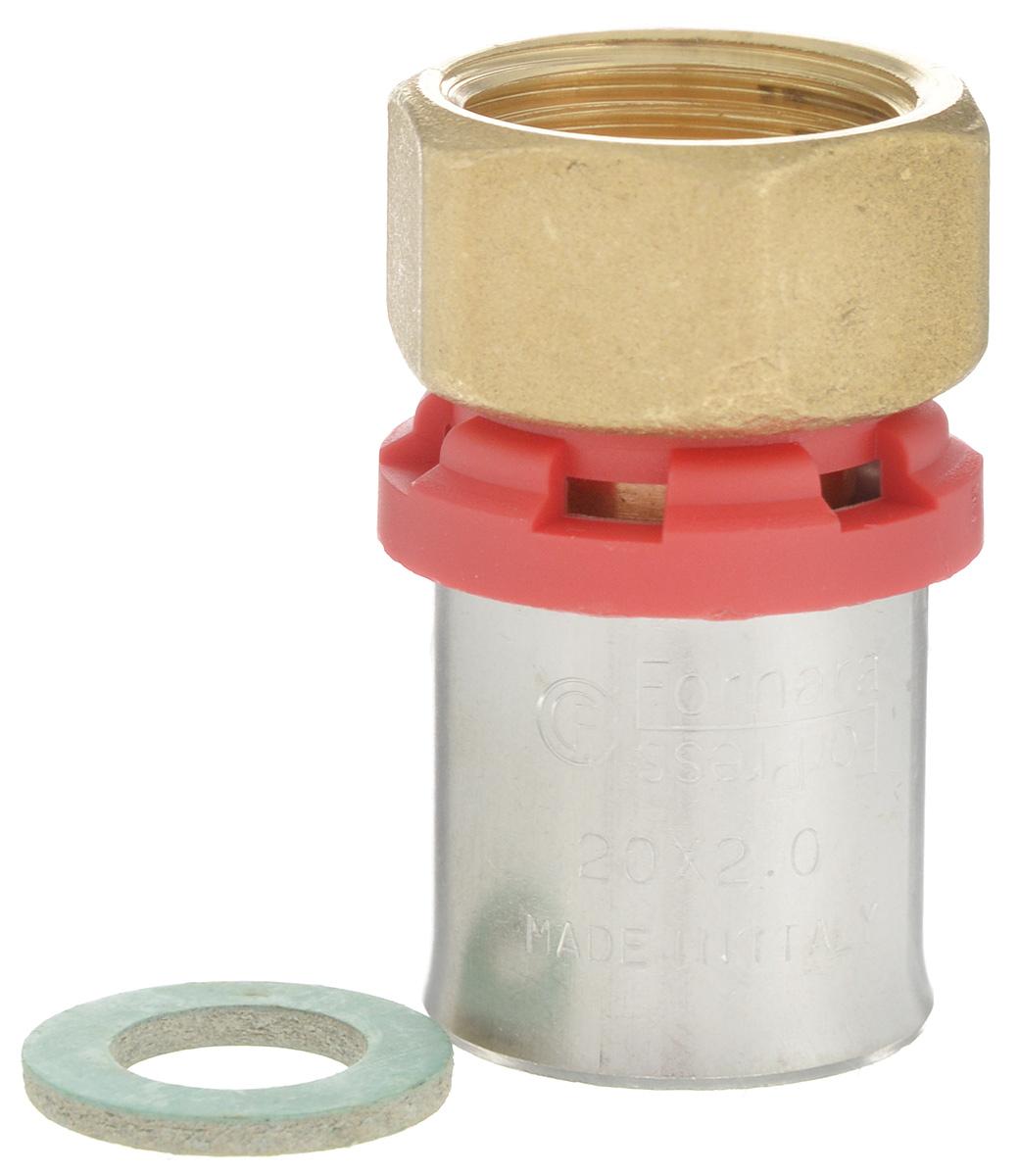 Соединитель Fornara под пресс, п - нг, 20 x 1/2ИС.100326Соединитель под пресс Fornara представляет собой элемент трубопровода, обеспечивающий соединение труб из разных материалов с компонентами системы. Изделие имеет переход на наружную резьбу, прочный, долговечный корпус из никелированной горячепрессованной латуни. Благодаря специальным насечкам уплотнительный материал соединителя хорошо удерживается при монтаже трубопроводной системы.