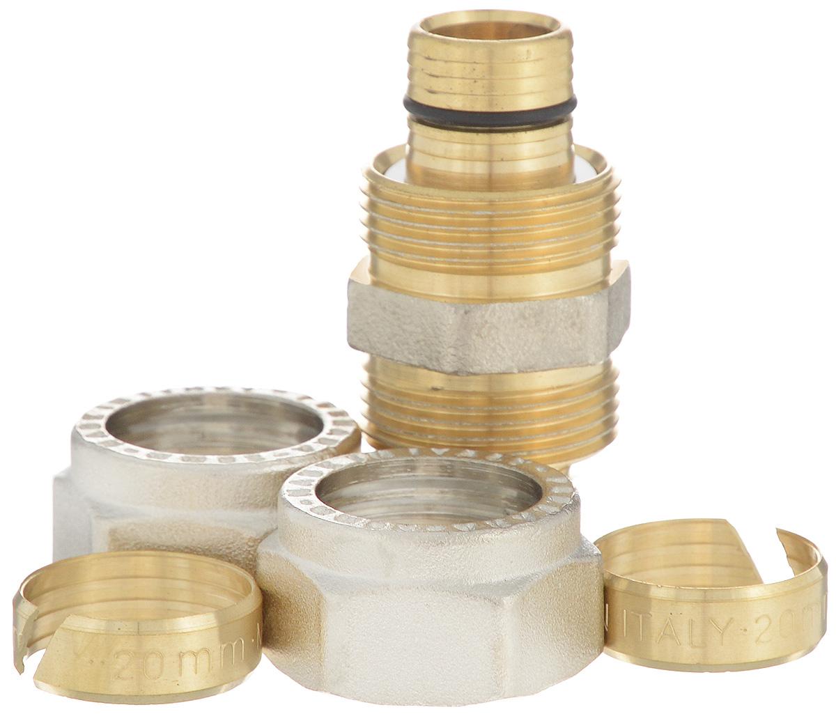 Соединитель Fornara, ц - ц, 20BL505Соединитель Fornara предназначен для соединения металлопластиковых труб с помощью разводного ключа. Соединение получается разъемным, что позволяет при необходимости заменять уплотнительные кольца, а также производить обслуживание участка трубопровода.
