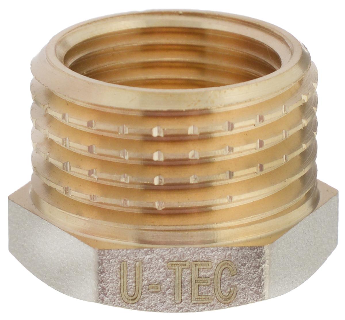 Футорка U-tec с фаской, 1/2 x 3/8UTV 1201.Y 04/BФуторка с фаской U-tec используется совместно с трубопроводом в качестве соединительного элемента. Главная особенность конструкции футорки - это наличие как внешней, так и внутренней резьбы, что позволяет соединить между собой отрезки труб различные по резьбе. С помощью футорки осуществляется переход с внутренней на наружную резьбу, большую по диаметру. Футорка выполнена из латуни, за счет чего не подвергается коррозии и любым механическим и химическим воздействиям. Приспособление просто незаменимо в случае создания водопроводной или газовой магистрали.Резьба: 1/2 x 3/8.