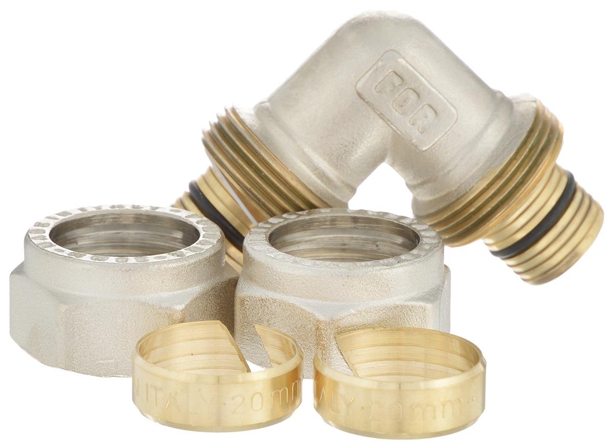 Уголок Fornara, цанга-цанга, 20BL505Уголок Fornara предназначен для соединения металлопластиковых труб с помощью разводного ключа. Соединение получается разъемным, что позволяет при необходимости заменять уплотнительные кольца, а также производить обслуживание участка трубопровода.
