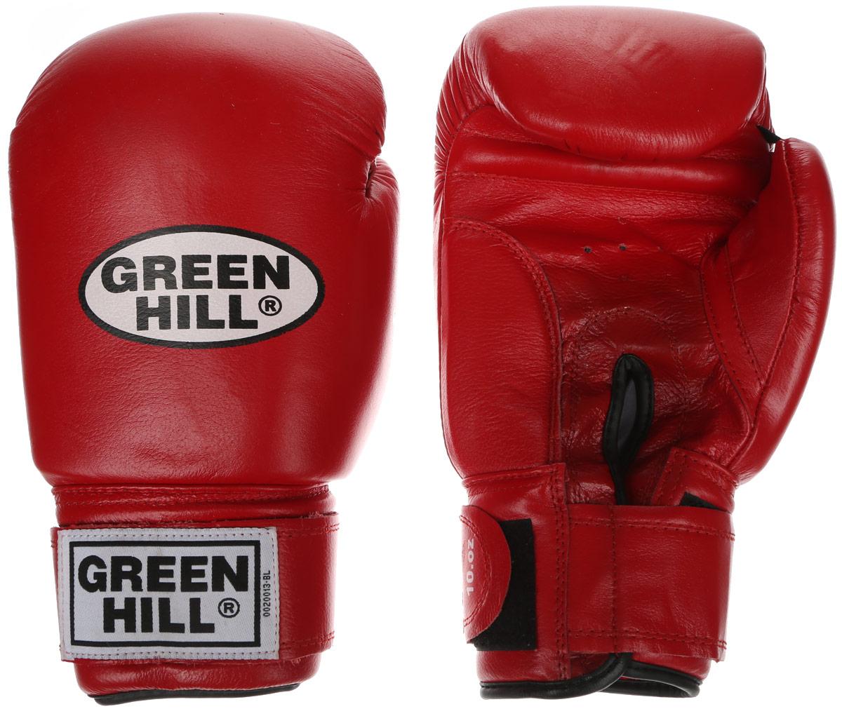 Перчатки боксерские Green Hill Tiger, цвет: красный, белый. Вес 12 унций. BGT-2010сG-2036312Боевые боксерские перчатки Green Hill Tiger применяются как для соревнований, так и для тренировок. Верх выполнен из натуральной кожи, вкладыш - предварительно сформированный пенополиуретан. Манжет на липучке способствует быстрому и удобному надеванию перчаток, плотно фиксирует перчатки на руке. Отверстия в области ладони позволяют создать максимально комфортный терморежим во время занятий.В перчатках применяется технология антинокаут.