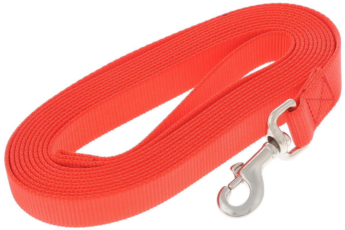 Поводок V.I.Pet для собак, ширина 2,5 см, длина 5 мDM-130064-3_бежевыйПоводок V.I.Pet, изготовленный из нейлона, прекрасно подойдет для собак крупных пород. Поводок применяется для прогулок и дрессировки собаки. Он отличается высокой прочностью и долговечностью. Изделие снабжено надежным карабином, изготовленным из высококачественной стали. Специальный переходник позволяет карабину крутиться вокруг своей оси, предотвращая запутывание поводка. На поводке имеется петля, которая одевается на руку для более удобного использования. Длина поводка: 5 м. Ширина поводка: 2,5 см.