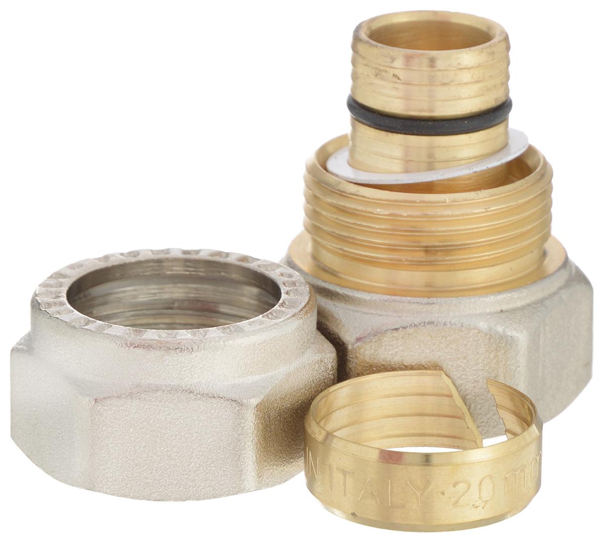 Соединитель Fornara, ц - г, 20 x 3/4BL505Соединитель Fornara предназначен для соединения металлопластиковых труб с помощью разводного ключа. Соединение получается разъемным, что позволяет при необходимости заменять уплотнительные кольца, а также производить обслуживание участка трубопровода.