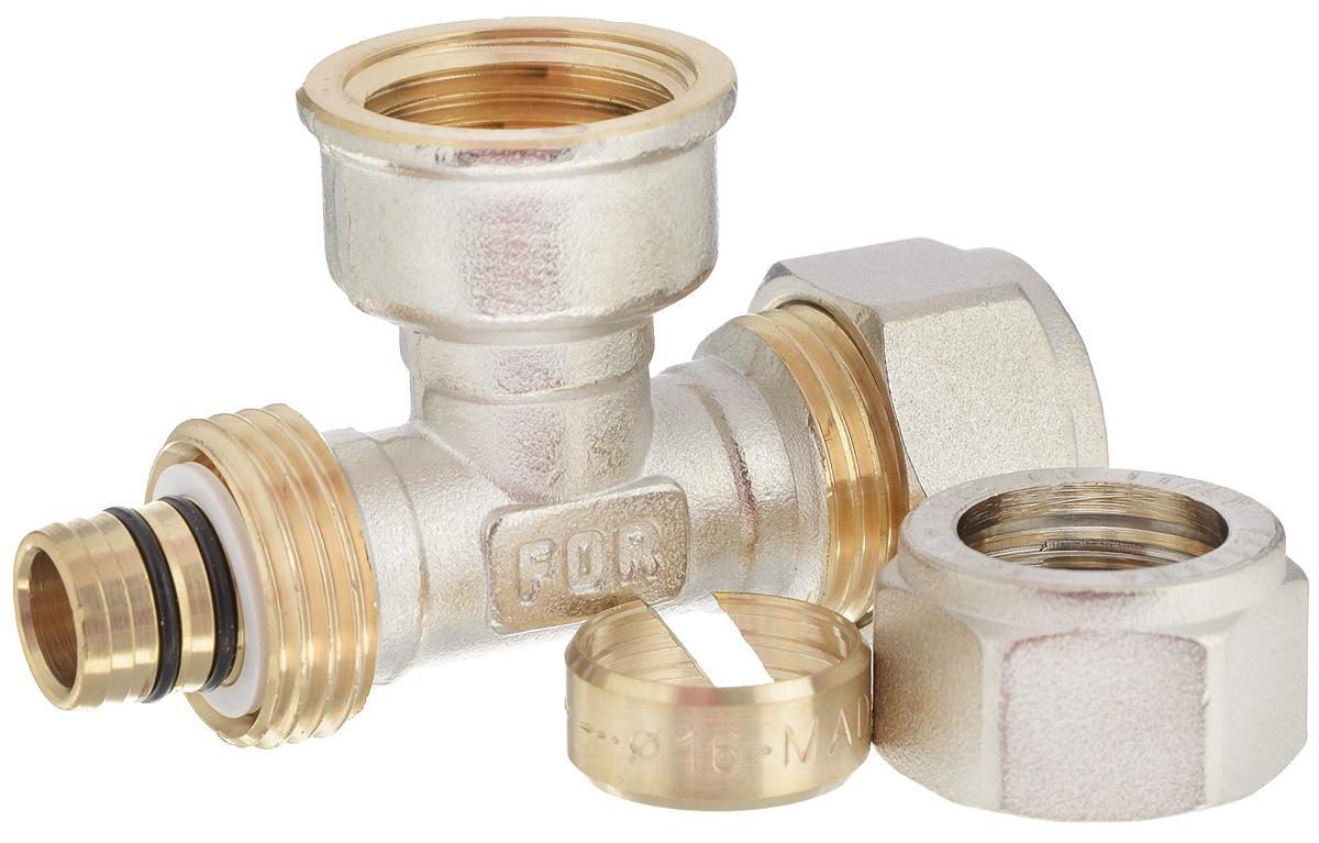 Тройник Fornara, ц - г- ц, 16 x 1/2 x 1630663Тройник Fornara - это фитинг для металлопластиковых труб систем отопления, водоснабжения, технологических установок. Предназначен для соединения металлополимерных труб на основе обычного, сшитого или термоустойчивого полиэтилена и может применяться в инженерных и технологических системах с рабочей температурой до 115 °С.